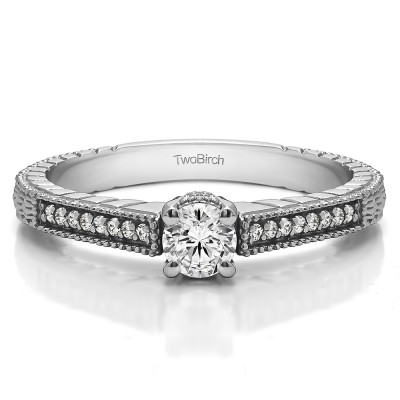 0.33 Ct. Round Vintage Engagement Ring Engraved Shank With Cubic Zirconia Mounted in Sterling Silver (Size 10)