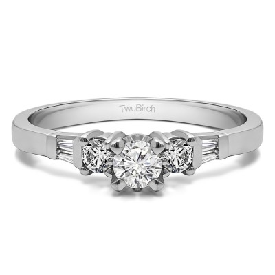 0.5 Ct. Round and Baguette Three Stone Engagement Ring With Cubic Zirconia Mounted in Sterling Silver (Size 7)
