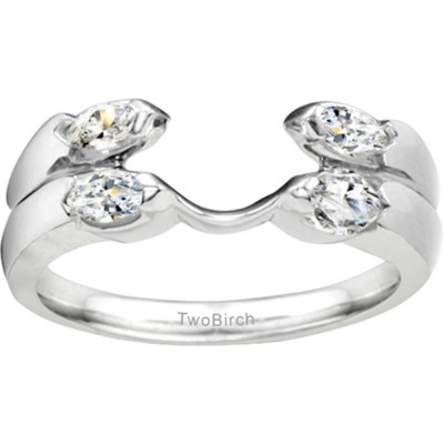 0.2 Ct. Double Row Four Stone Ring Wrap Enhancer