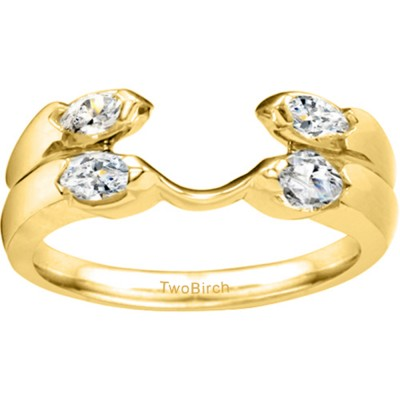 0.2 Ct. Double Row Four Stone Ring Wrap Enhancer in Yellow Gold