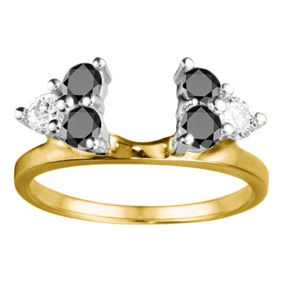 0.5 Ct. Black and White Shared Prong Set Six Stone Ring Wrap in Two Tone Gold