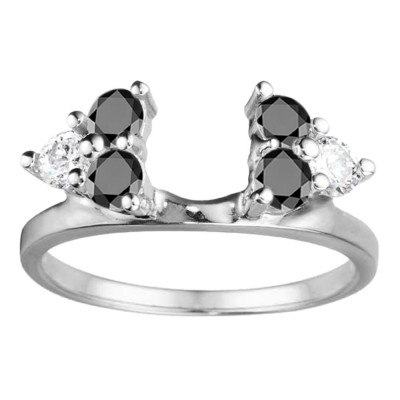 0.5 Ct. Black and White Shared Prong Set Six Stone Ring Wrap
