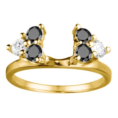 0.5 Ct. Black and White Shared Prong Set Six Stone Ring Wrap in Yellow Gold