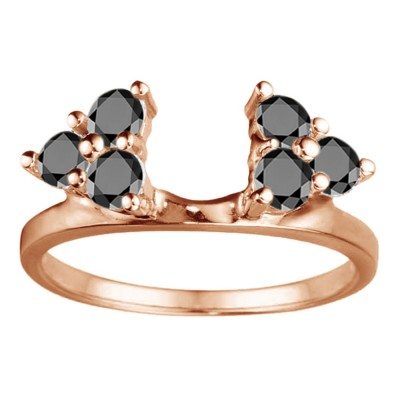 0.12 Ct. Black Shared Prong Set Six Stone Ring Wrap in Rose Gold