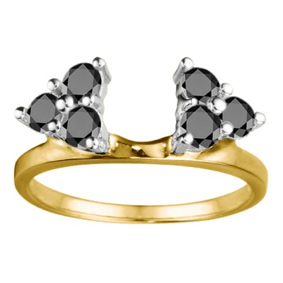 0.12 Ct. Black Shared Prong Set Six Stone Ring Wrap in Two Tone Gold