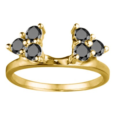 0.12 Ct. Black Shared Prong Set Six Stone Ring Wrap in Yellow Gold