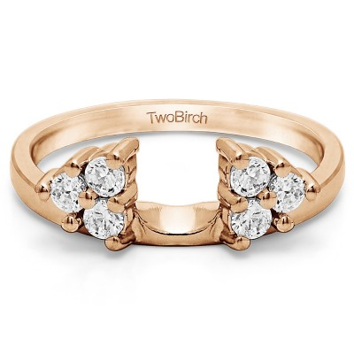 0.99 Ct. Shared Prong Set Six Stone Ring Wrap in Rose Gold