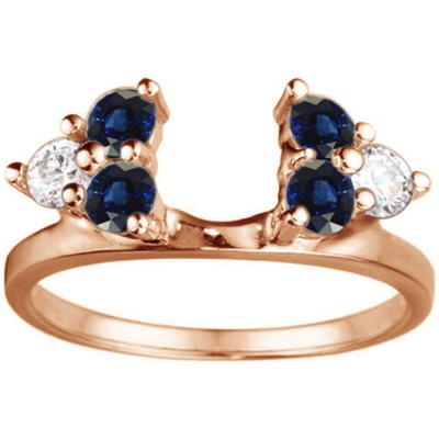 0.5 Ct. Sapphire and Diamond Shared Prong Set Six Stone Ring Wrap in Rose Gold