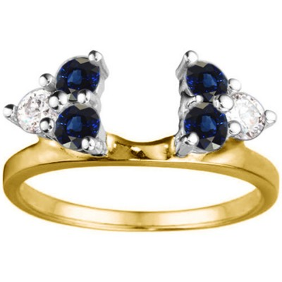 0.5 Ct. Sapphire and Diamond Shared Prong Set Six Stone Ring Wrap in Two Tone Gold