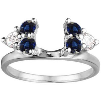 0.5 Ct. Sapphire and Diamond Shared Prong Set Six Stone Ring Wrap