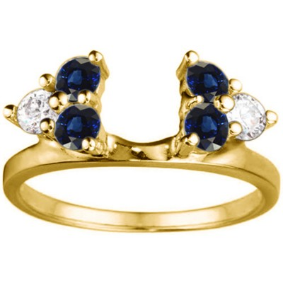 0.5 Ct. Sapphire and Diamond Shared Prong Set Six Stone Ring Wrap in Yellow Gold
