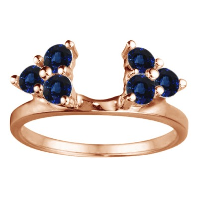 0.12 Ct. Sapphire Shared Prong Set Six Stone Ring Wrap in Rose Gold