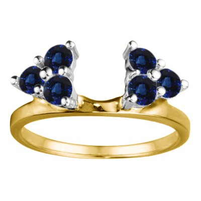 0.12 Ct. Sapphire Shared Prong Set Six Stone Ring Wrap in Two Tone Gold