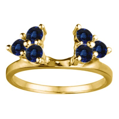 0.12 Ct. Sapphire Shared Prong Set Six Stone Ring Wrap in Yellow Gold
