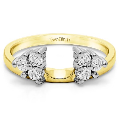 0.5 Ct. Shared Prong Set Six Stone Ring Wrap in Two Tone Gold