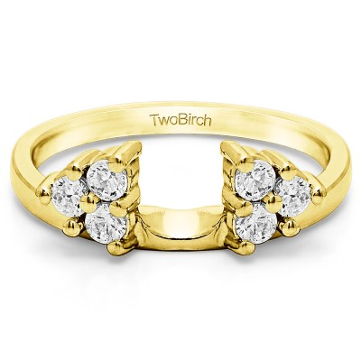 0.75 Ct. Shared Prong Set Six Stone Ring Wrap in Yellow Gold