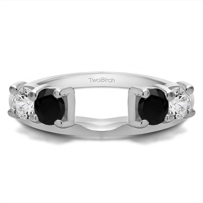 0.5 Ct. Black and White Graduated Four Stone Shared Prong Set Ring Wrap