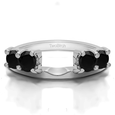 0.5 Ct. Black Graduated Four Stone Shared Prong Set Ring Wrap
