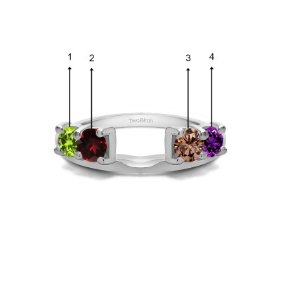 Genuine Birthstone Traditional Style Ring Wrap Enhancer(0.5 Carat)