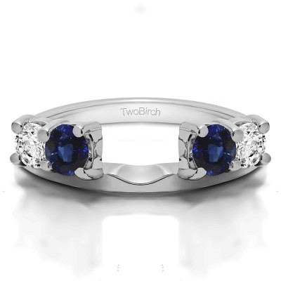 0.15 Ct. Sapphire and Diamond Graduated Four Stone Shared Prong Set Ring Wrap