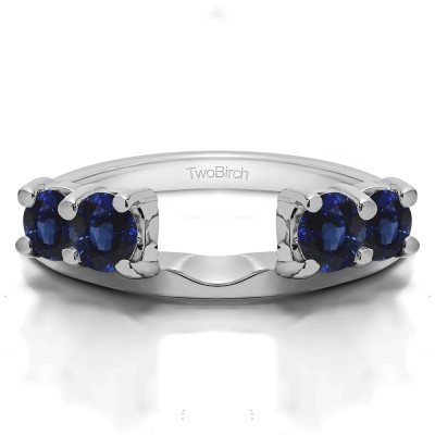 0.15 Ct. Sapphire Graduated Four Stone Shared Prong Set Ring Wrap