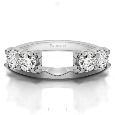 1 Ct. Graduated Four Stone Shared Prong Set Ring Wrap With Cubic Zirconia Mounted in Sterling Silver (Size 6.5)