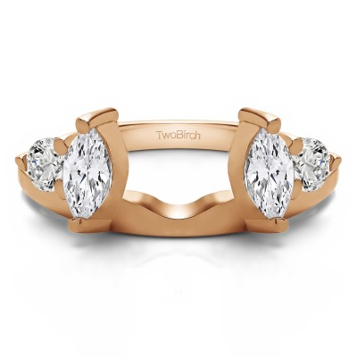 1 Ct. Round and Marquise Wedding Ring Wrap in Rose Gold