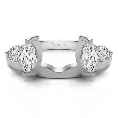 1 Ct. Round and Marquise Wedding Ring Wrap With Cubic Zirconia Mounted in Sterling Silver