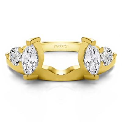 1 Ct. Round and Marquise Wedding Ring Wrap in Yellow Gold