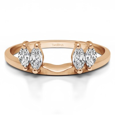 0.75 Ct. Four Stone Marquise Ring Wrap Enhancer in Rose Gold