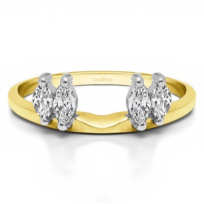 1 Ct. Four Stone Marquise Ring Wrap Enhancer in Two Tone Gold
