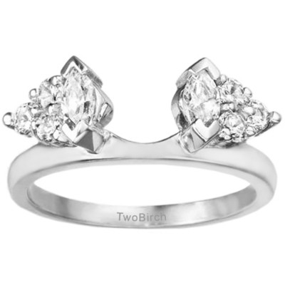 1 Ct. Cluster Marquise and Round Ring Wrap Enhancer With Cubic Zirconia Mounted in Sterling Silver (Size 5)