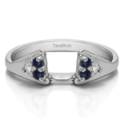 0.15 Ct. Sapphire and Diamond Six Stone Prong Set Cluster Ring Wrap Enhancer