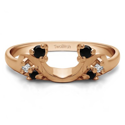0.15 Ct. Black and White Bypass Shared Prong Six Stone Ring Wrap in Rose Gold