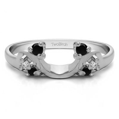 0.15 Ct. Black and White Bypass Shared Prong Six Stone Ring Wrap