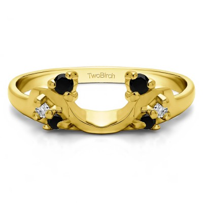 0.15 Ct. Black and White Bypass Shared Prong Six Stone Ring Wrap in Yellow Gold