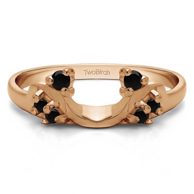 0.12 Ct. Black Bypass Shared Prong Six Stone Ring Wrap in Rose Gold