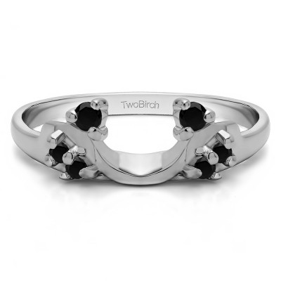 0.12 Ct. Black Bypass Shared Prong Six Stone Ring Wrap