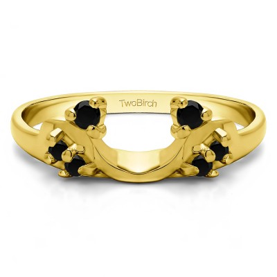 0.12 Ct. Black Bypass Shared Prong Six Stone Ring Wrap in Yellow Gold