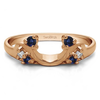 0.15 Ct. Sapphire and Diamond Bypass Shared Prong Six Stone Ring Wrap in Rose Gold