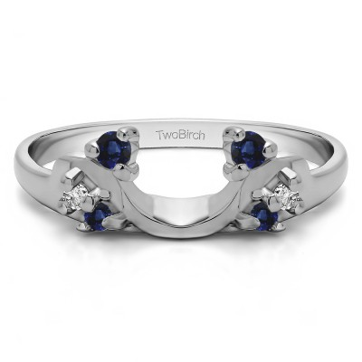 0.15 Ct. Sapphire and Diamond Bypass Shared Prong Six Stone Ring Wrap
