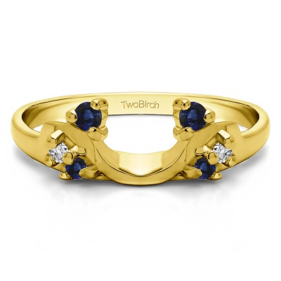 0.15 Ct. Sapphire and Diamond Bypass Shared Prong Six Stone Ring Wrap in Yellow Gold