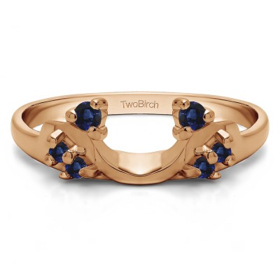 0.12 Ct. Sapphire Bypass Shared Prong Six Stone Ring Wrap in Rose Gold
