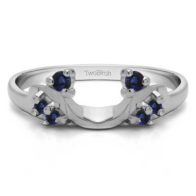 0.12 Ct. Sapphire Bypass Shared Prong Six Stone Ring Wrap