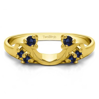 0.12 Ct. Sapphire Bypass Shared Prong Six Stone Ring Wrap in Yellow Gold