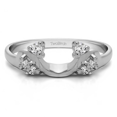 0.15 Ct. Bypass Shared Prong Six Stone Ring Wrap With Cubic Zirconia Mounted in Sterling Silver.(Size 7)