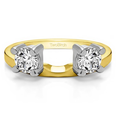 0.75 Ct. Two Stone Round Ring Wrap Enhancer in Two Tone Gold