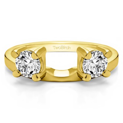 0.75 Ct. Two Stone Round Ring Wrap Enhancer in Yellow Gold