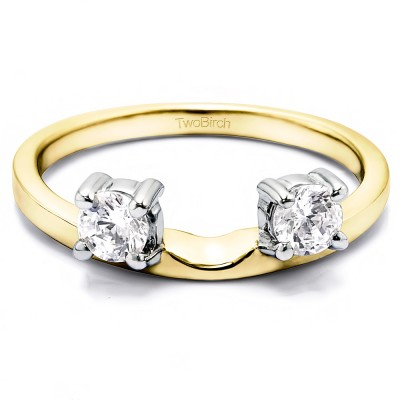0.5 Ct. Two Stone Round Ring Wrap Enhancer in Two Tone Gold