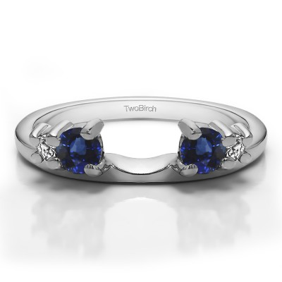 0.4 Ct. Sapphire and Diamond Graduated Four Stone Ring Wrap